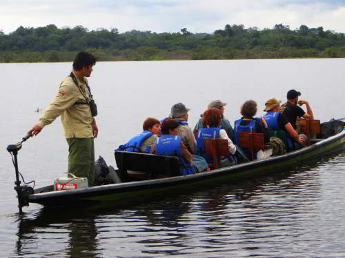 Visiting the Amazon in Ecuador: Amazon visit in Ecuador by moterized canoe.