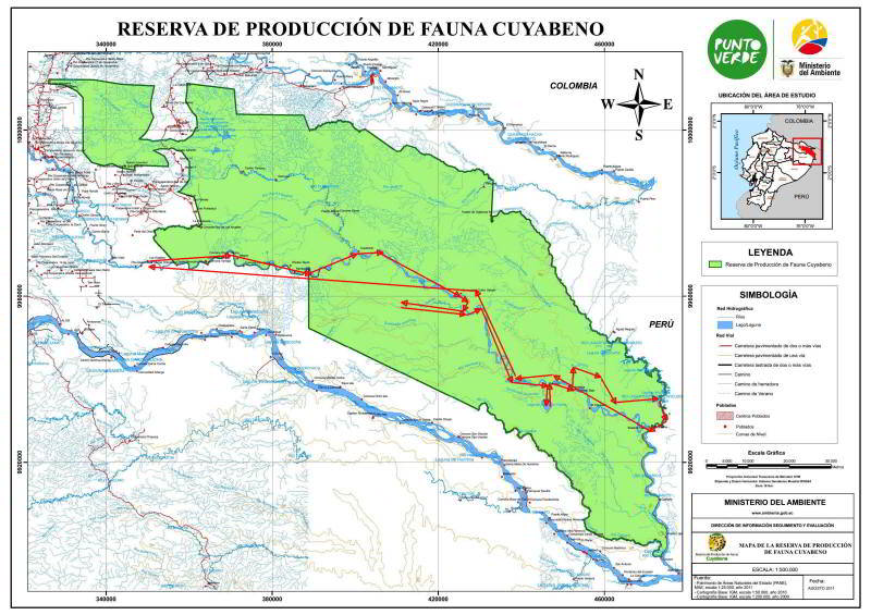 VACACIONES EN ECUADOR: VACACIONES EN ECUADOR: Detailed map Cuyabeno Wildlife Reserve with route.