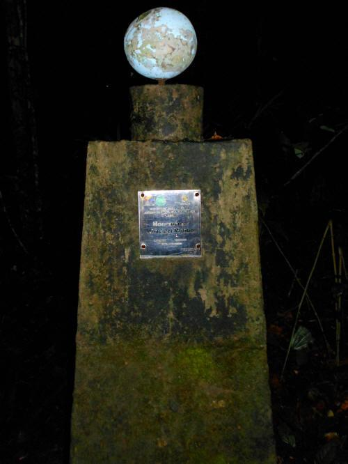 25 Facts of the Amazon Rainforest: The marker of the Equator in Cuyabeno Wildlife Reserve.