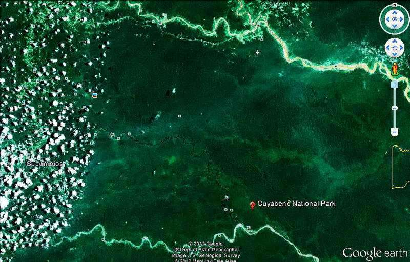 Cuyabeno Faunistic Reserve from Google Earth.