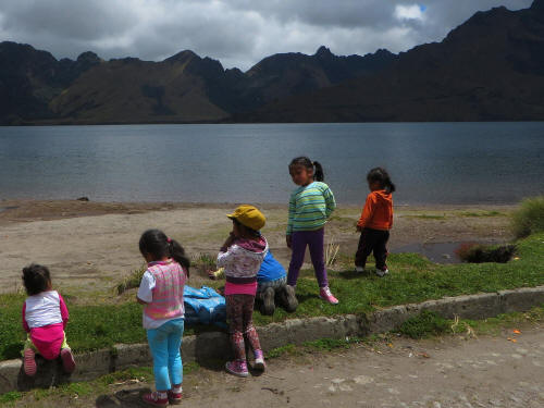 Children at Lake Mojanda.