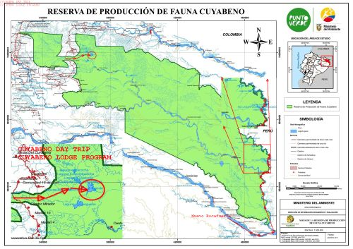 CUYABENO WILDLIFE RESERVE MAP: Lake area tours.