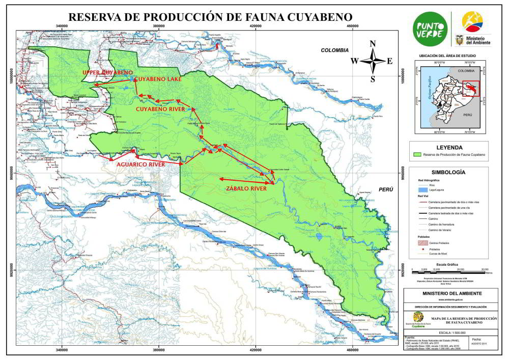 10 CUYABENO WILDLIFE RESERVE FACTS: Official map of the Cuyabeno Wildlife Reserve.