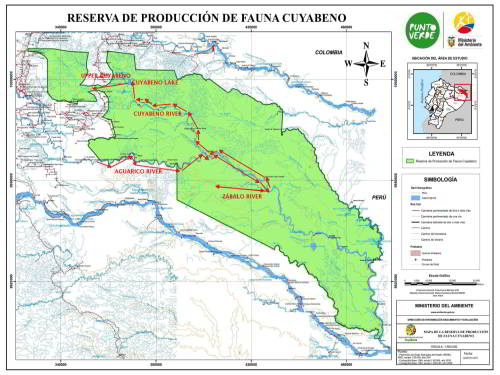 DSCHUNGEL REISEN AMAZONA, ECUADOR: Detailed map Cuyabeno Wildlife Reserve.